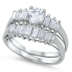 Stunning Row of Emerald Cut Cubic Zirconia Engagement Ring Bridal Set