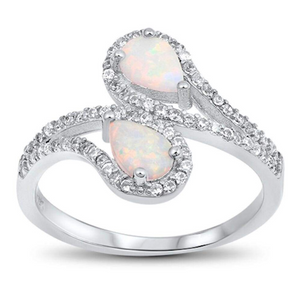 Rings $53.35 Tear Drop White Lab Opal with Clear CZ Halo Set in Bypass Shank Sterling Silver Band 50-100, badge-toprated, clear,