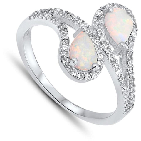 Rings $32.11 Tear Drop White Lab Opal with Clear CZ Halo Set in Bypass Shank Sterling Silver Band clear cubic-zirconia cz halo opal