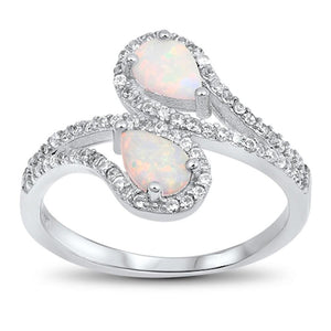 Tear Drop White Lab Opal with Clear CZ Halo Set in Bypass Shank Sterling Silver Band