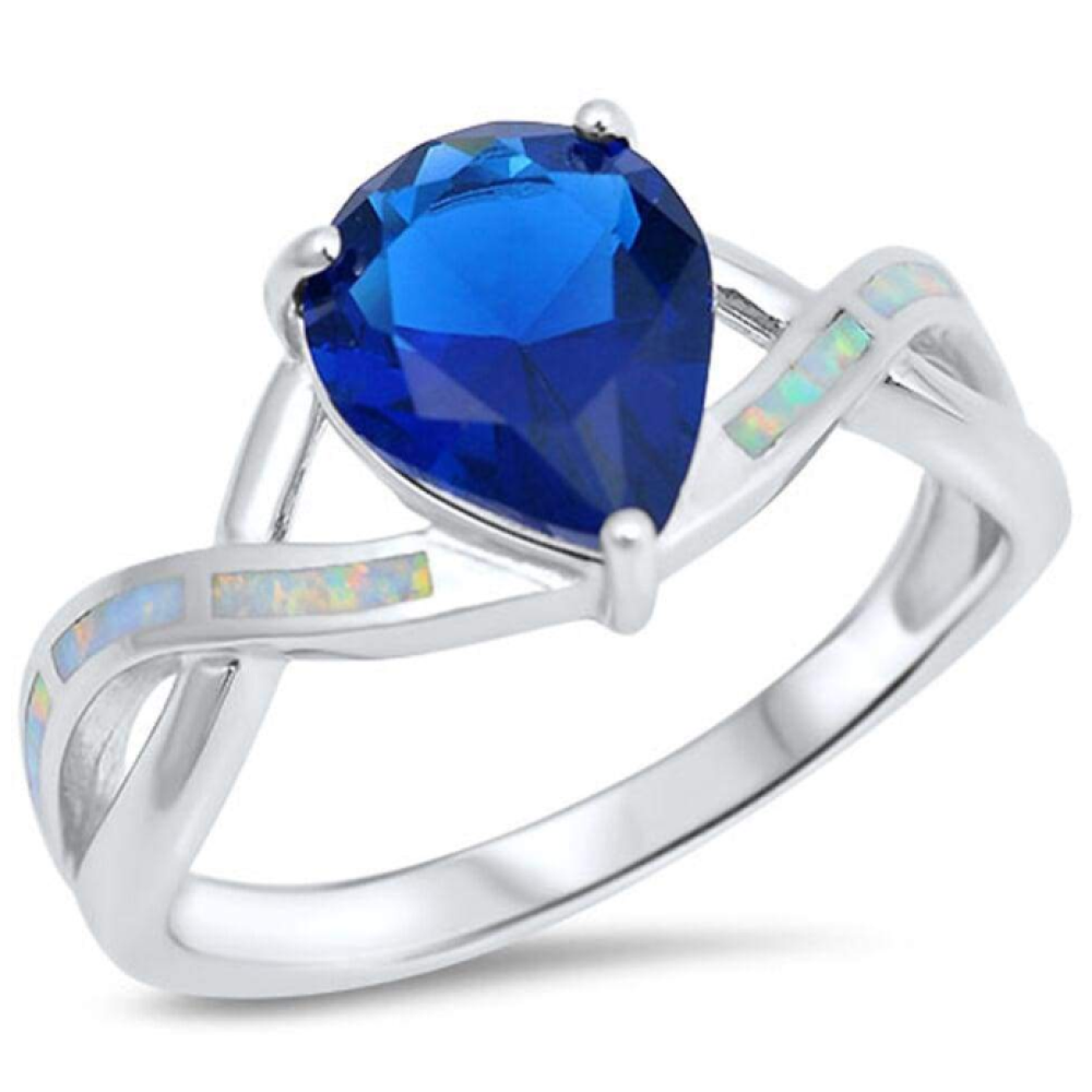 Rings $51.22 Teardrop Blue Sapphire CZ with White Lab Opal Smooth Inlay in an Infinity Band Size 5-9 50-100, badge-toprated, blue,
