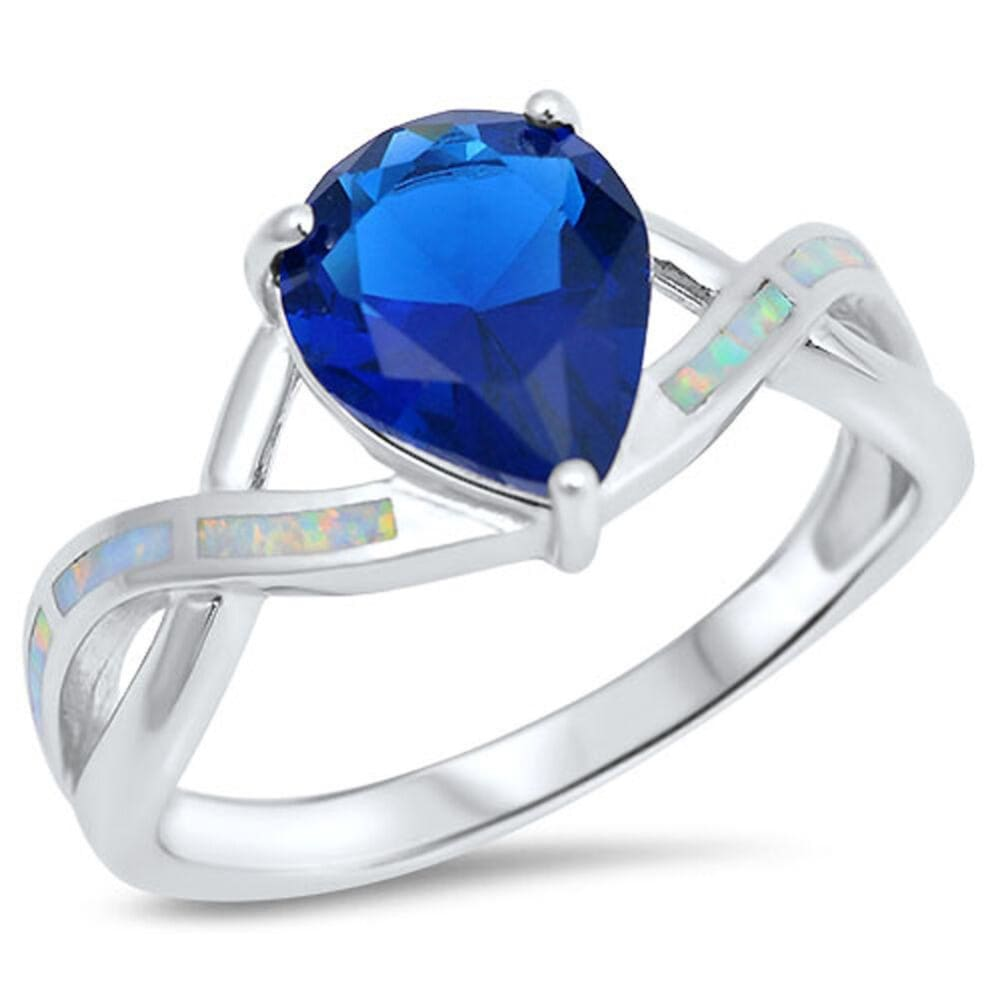 Rings $30.53 Teardrop Blue Sapphire CZ with White Lab Opal Smooth Inlay in an Infinity Band Size 5-9 25-50 blue cubic-zirconia cz opal