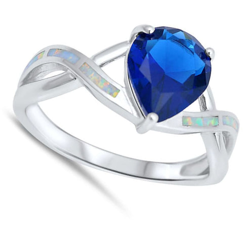 Image of Rings $30.53 Teardrop Blue Sapphire CZ with White Lab Opal Smooth Inlay in an Infinity Band Size 5-9 25-50 blue cubic-zirconia cz opal