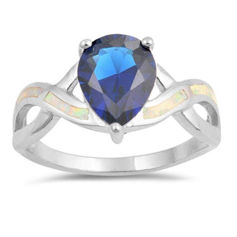 Image of Rings $59.59 Teardrop Blue Sapphire with White Lab Opal Smooth Inlay in Criss Cross Thumb Band 50-100, badge-toprated, blue, cubic-zirconia,