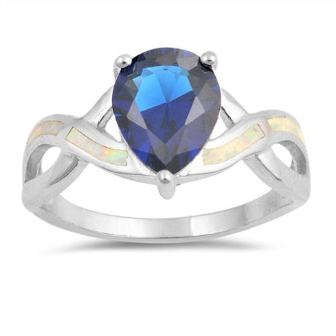 Image of Rings $36.73 Teardrop Blue Sapphire with White Lab Opal Smooth Inlay in Criss Cross Thumb Band blue cubic-zirconia cz opal sapphire