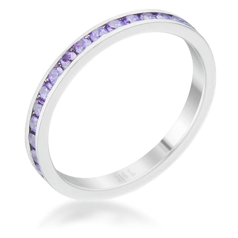 Rings $24.20 Teresa 0.5Ct Amethyst Cz Stainless Steel Eternity 2.5Mm Band 2Mm Band Cz Eternity Purple