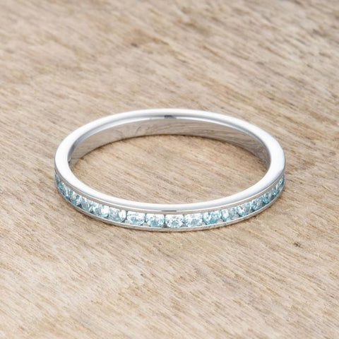 Rings $24.20 Teresa 0.5Ct Aqua Blue Cz Stainless Steel Eternity Band 2Mm 2Mm Blue Cz Eternity Steel