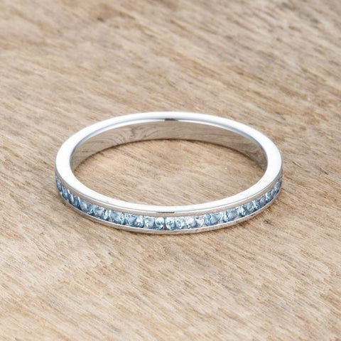Rings $24.20 Teresa 0.5Ct Blue Topaz Cz Stainless Steel Eternity Band