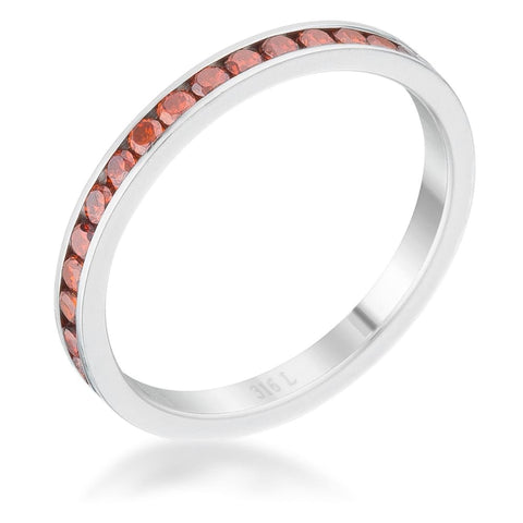 Image of Rings $24.20 Teresa 0.5ct Dark Orange CZ Stainless Steel Eternity Band 2mm JGI 2mm band cz eternity orange