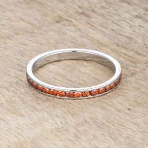 Teresa 0.5ct Dark Orange CZ Stainless Steel Eternity Band 2mm JGI