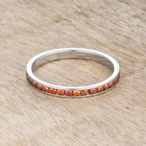 Rings $24.20 Teresa 0.5ct Dark Orange CZ Stainless Steel Eternity Band 2mm JGI 2mm band cz eternity orange