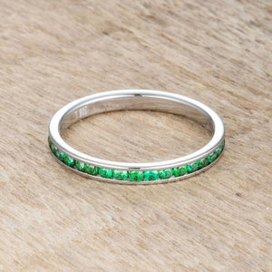 Teresa 0.5ct Green Emerald CZ Stainless Steel Eternity Band 2mm JGI