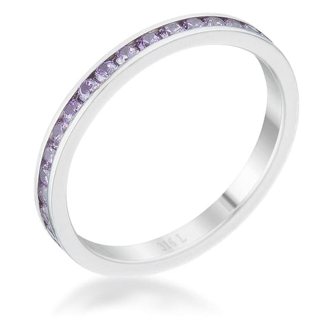 Rings $24.20 Teresa 0.5Ct Lavender Purple Cz Stainless Steel Eternity Band 2Mm 2Mm Band Cz Eternity Purple