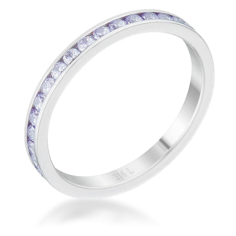 Rings $24.20 Teresa 0.5Ct Light Lavender Cz Stainless Steel Eternity Band Jgi