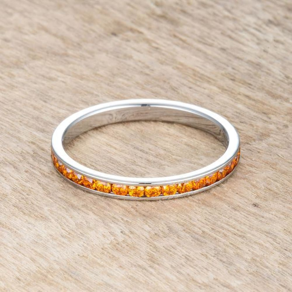 Rings $24.20 Teresa 0.5Ct Orange Cz Stainless Steel Eternity Band 2Mm Jgi 2Mm Band Cz Eternity Orange