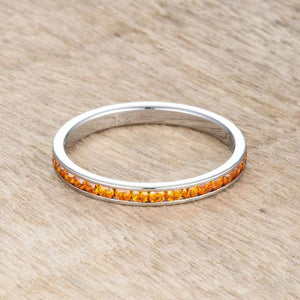 Teresa 0.5ct Orange CZ Stainless Steel Eternity Band 2mm JGI