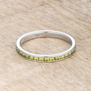 Teresa 0.5ct Peridot Green CZ Stainless Steel Eternity Band 2mm JGI