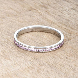 Teresa 0.5ct Pink CZ Stainless Steel Eternity Band 2mm JGI