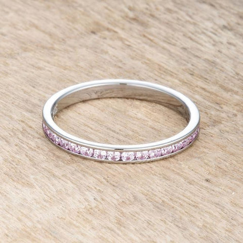 Image of Rings $24.20 Teresa 0.5Ct Pink Cz Stainless Steel Eternity Band