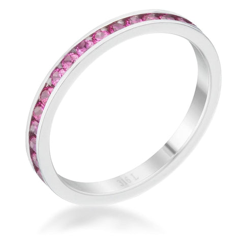 Image of Rings $24.20 Teresa 0.5Ct Ruby Cz Stainless Steel Eternity Band 2Mm 2Mm Band Cz Eternity Red