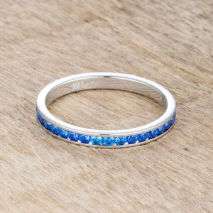 Teresa 0.5ct Sapphire Blue CZ Stainless Steel Eternity Band 2mm JGI
