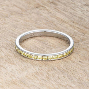 Teresa 0.5ct Yellow CZ Stainless Steel Eternity Band 2mm JGI