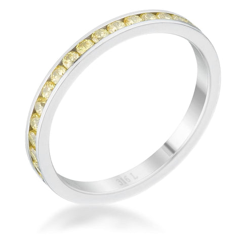 Image of Rings $24.20 Teresa 0.5ct Yellow CZ Stainless Steel Eternity Band 2mm JGI 2mm band cz eternity steel