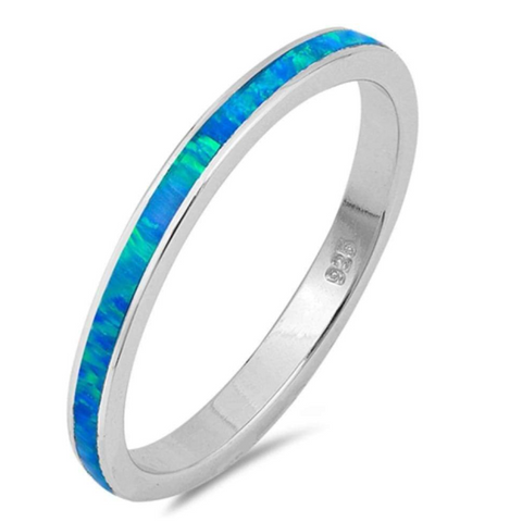 Image of Rings $53.07 Thin Blue Lab Opal Stackable Wedding Band 50-100, badge-toprated, blue, opal. thin, rings