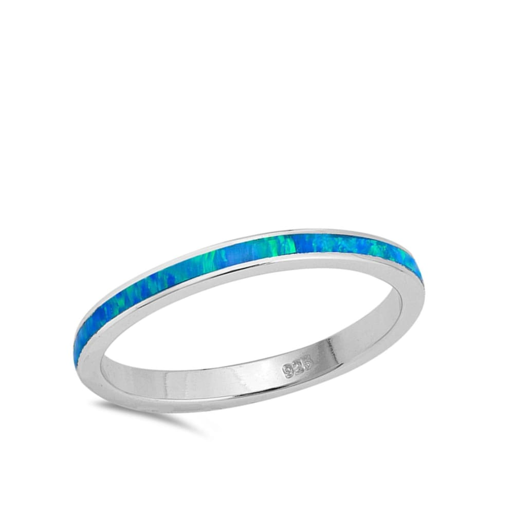 Rings $31.90 Thin Blue Lab Opal Stackable Wedding Band blue opal. thin stackable wedding