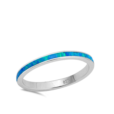 Image of Rings $31.90 Thin Blue Lab Opal Stackable Wedding Band blue opal. thin stackable wedding