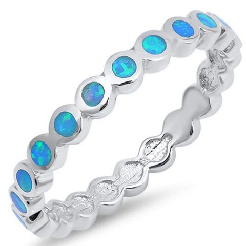 Image of Rings $49.39 Thin Round Band of Blue Opal Eterenity Band Sterling Silver Ring 25-50, badge-toprated, band, blue, eternity