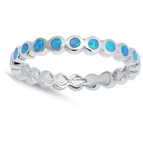 Image of Rings $37.99 Thin Round Band of Blue Opal Eterenity Band Sterling Silver Ring band blue eternity opal