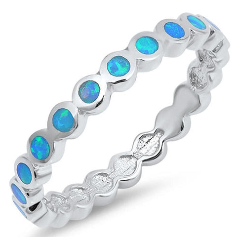 Rings $37.99 Thin Round Band of Blue Opal Eterenity Band Sterling Silver Ring band blue eternity opal