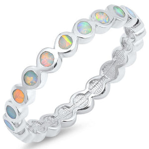 Thin Round Band of White Opal Eterenity Band Sterling Silver Ring