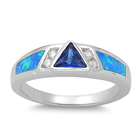 Image of Rings $36.73 Triangle Blue CZ Stone with Clear CZ Stones and Blue Lab Opal Set in Sterling Silver Band blue clear cubic-zirconia cz opal