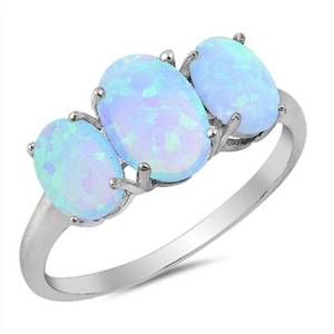 Rings $52.50 Triple Oval Blue Lab Opal Set in Sterling Silver Band 50-100, badge-toprated, blue, er, opal