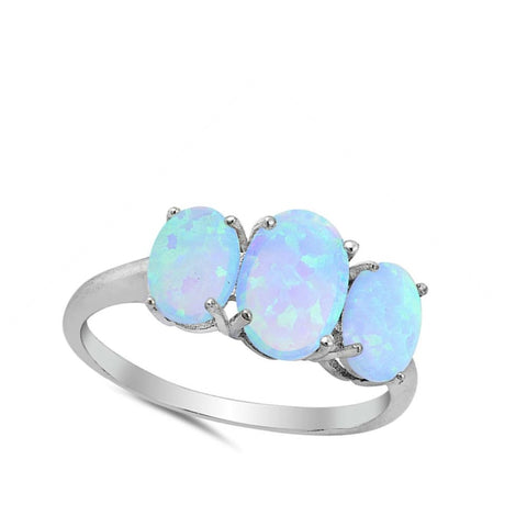 Image of Rings $31.48 Triple Oval Blue Lab Opal Set in Sterling Silver Band blue opal oval