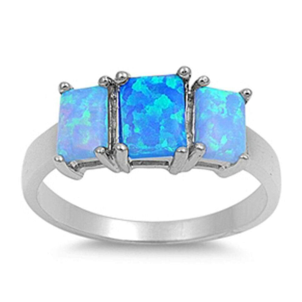 Rings $53.63 Triple Rectangle Blue Lab Opal Set in Sterling Silver Band 50-100, badge-toprated, blue, er, opal