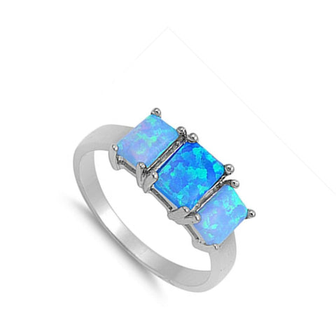 Image of Rings $32.32 Triple Rectangle Blue Lab Opal Set in Sterling Silver Band blue opal rectangle