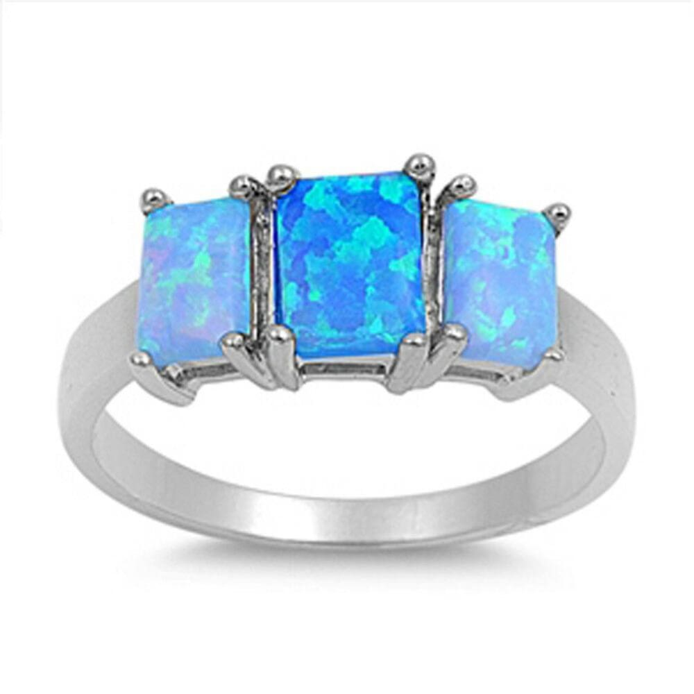 Rings $32.32 Triple Rectangle Blue Lab Opal Set in Sterling Silver Band blue opal rectangle