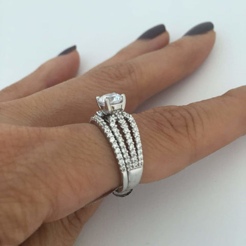 Rings $160.00 Triple Shank 1 Carat Cubic Zirconia Solitaire Wedding Engagement Rings Big Bridal Sets Er Rhodium Solitaire