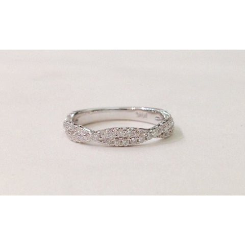 Rings $999.99 Twisted Diamond Wedding Band Stacking Ring - Infinity Pave Twist Half Eternity In 14K White Yellow Or Rose Gold Band Rg Yg