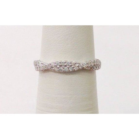 Image of Rings $999.99 Twisted Diamond Wedding Band Stacking Ring - Infinity Pave Twist Half Eternity In 14K White Yellow Or Rose Gold Band Rg Yg