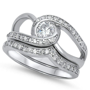 Rings $68.78 Twisted Halo Stacking Ring Set with Matching Band 50-100, 6mm, badge-toprated, clear, cubic-zirconia