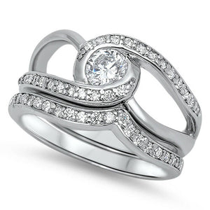 Rings $68.78 Twisted Halo Stacking Ring Set with Matching Band 50-100 6mm clear cubic-zirconia cz