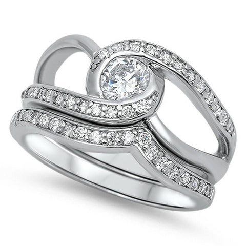 Image of Rings $68.78 Twisted Halo Stacking Ring Set with Matching Band 50-100 6mm clear cubic-zirconia cz