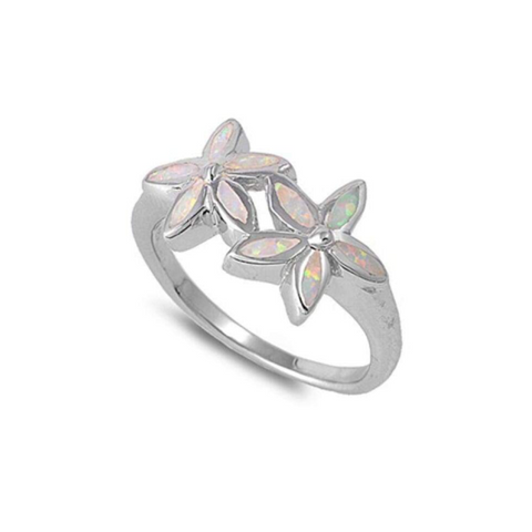 Rings $61.74 Two Flower White Opal and CZ Sterling Silver Ring 50-100, badge-toprated, clear, cubic-zirconia, cz