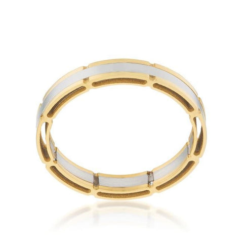 Rings $41.10 Two Tone Band Gold Plated Mens JGI band mens rhodium steel yg