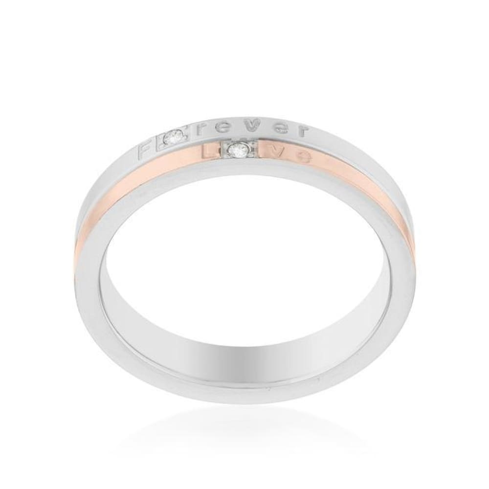 Rings $38.50 Two Tone Rose Gold Plated Forever Love 4mm Band With Cubic Zirconia JGI abc band cz rg rhodium