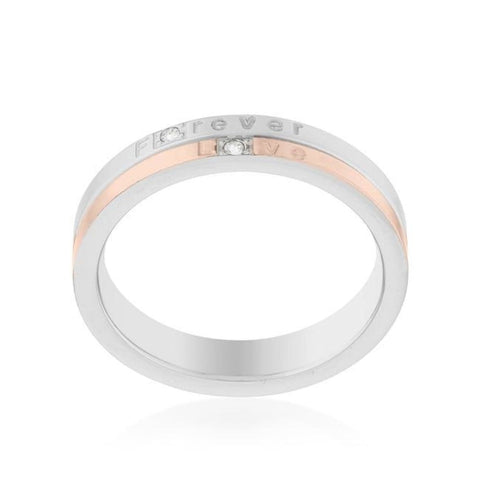 Image of Rings $38.50 Two Tone Rose Gold Plated Forever Love 4mm Band With Cubic Zirconia JGI abc band cz rg rhodium